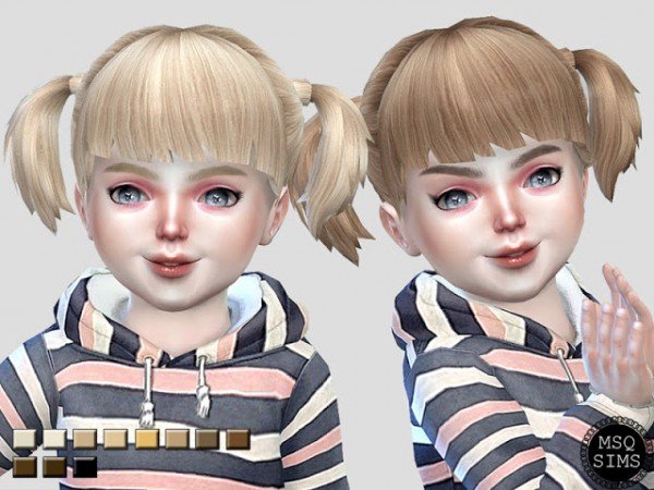 MSQ Sims: Toddler Pig Tails Hair Recolored for Sims 4