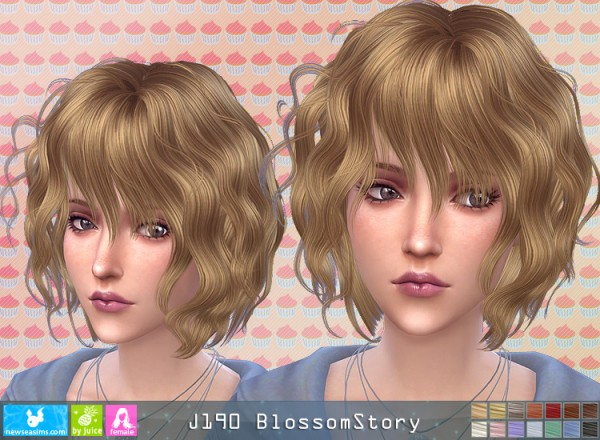 NewSea: J190 Blossom Story hair for Sims 4