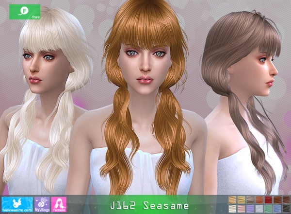 NewSea: J169 Seasame hair for Sims 4