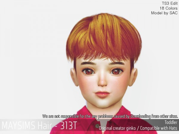 MAY Sims: MAY 313T hair retextured for Sims 4