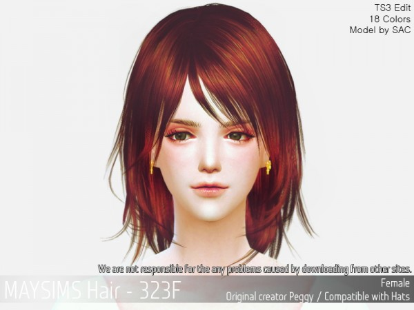 MAY Sims: MAY 323F hair retextured for Sims 4