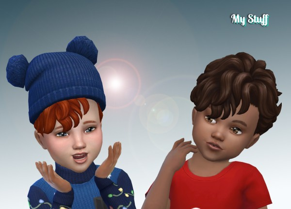 Mystufforigin: Mid Curly hair for Toddlers for Sims 4