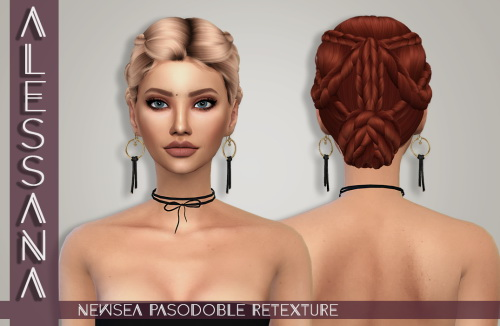 Alessana Sims: Newsea`s PasoDoble hair retextured for Sims 4