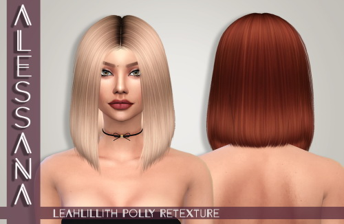 Alessana Sims: LeahLillith`s Polly hair retextured for Sims 4