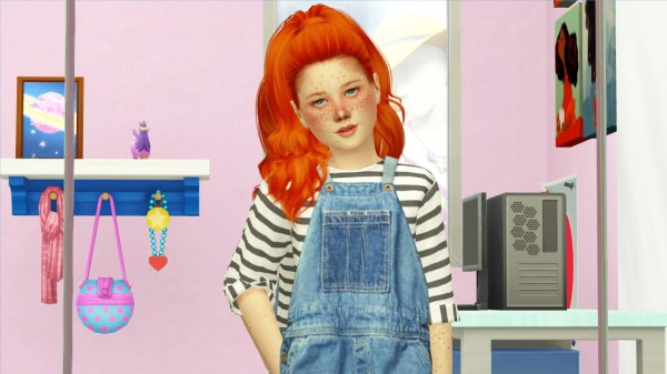 Coupure Electrique: Toksik Jealous hair retextured kids and toddlers version for Sims 4