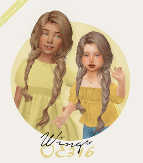 Simiracle: Wings OE316 hair retextured   Kids and Toddlers versions for Sims 4