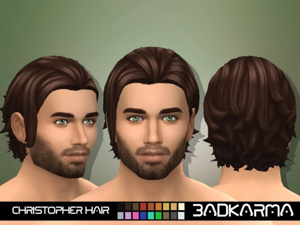 The Sims Resource: Christopher Hair retextured by BADKARMA for Sims 4