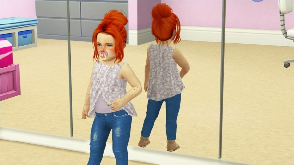 Coupure Electrique: Toksik Omnious hair retextured kids and toddlers version for Sims 4