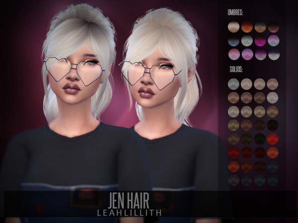 The Sims Resource: Jen Hair by LeahLillith for Sims 4