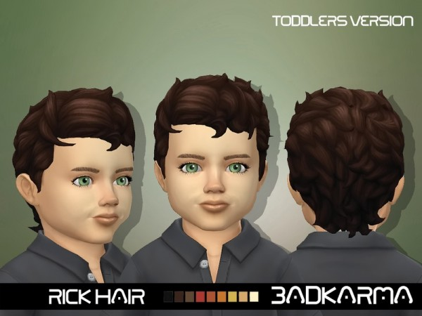 The Sims Resource: Rick Hair retextured toddlers Version by BADKARMA for Sims 4