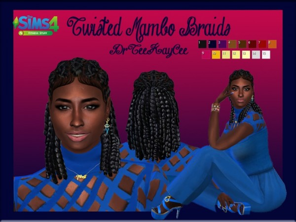 The Sims Resource: Twisted Mambo Braids II hair retextured by drteekaycee for Sims 4