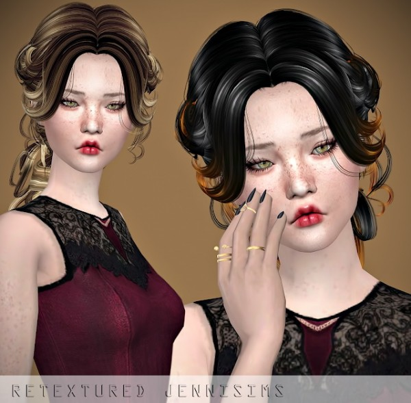 Jenni Sims: Newsea`s Lenox hair retextured for Sims 4