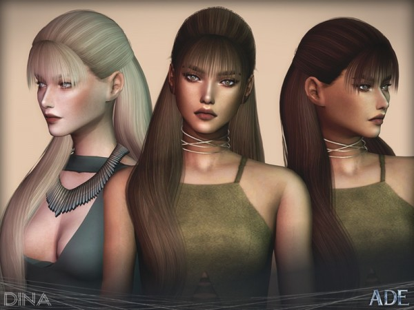 The Sims Resource: Dina hair by Ade Darma for Sims 4
