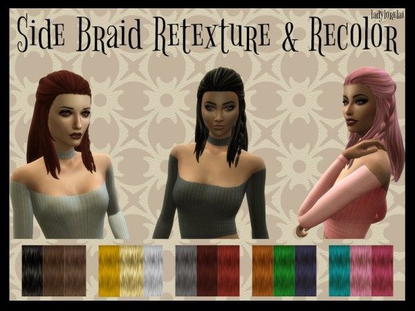 The Sims Resource: Side Braid hair retextured and recolored for Sims 4