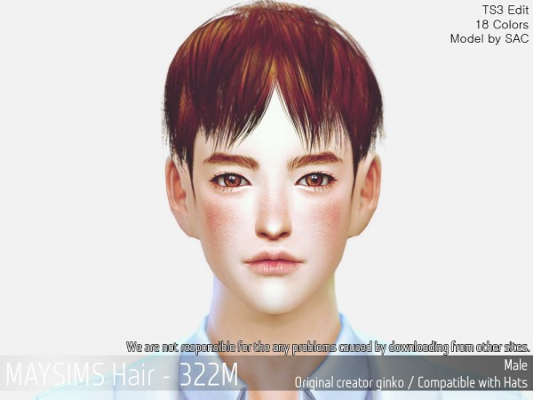 MAY Sims: MAY 322M hair retextured for Sims 4