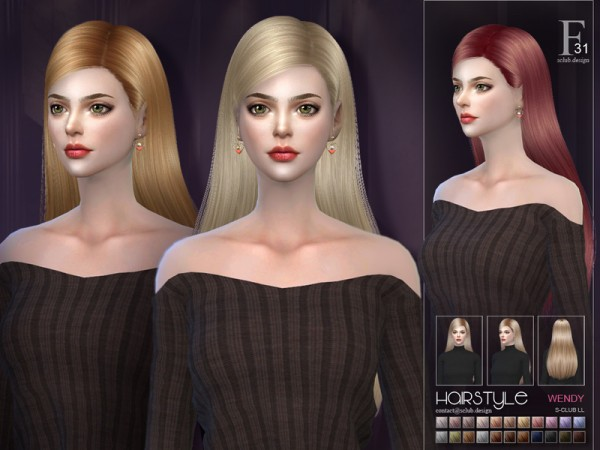 The Sims Resource: Wendy n31 hair by S Club for Sims 4