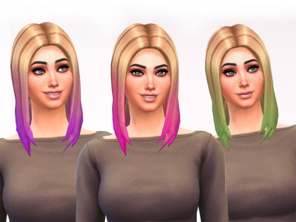 The Sims Resource: Dip Dye Straight Hair Recoloured by shannonmarina for Sims 4