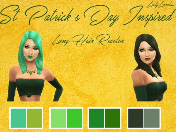 Simsworkshop: St. Patricks Day Long Hair Recolored by LadyLorelai for Sims 4