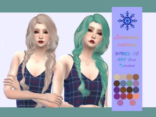 The Sims Resource: WINGS OE0316 Hair Retextured by Lisaminicatsims for Sims 4