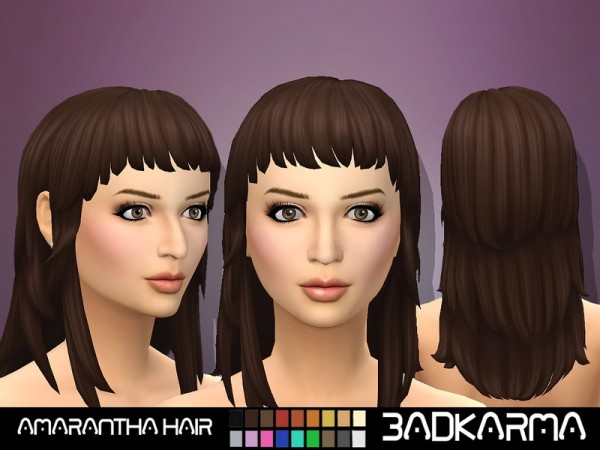 The Sims Resource: Amarantha Hair retextured by BADKARMA for Sims 4