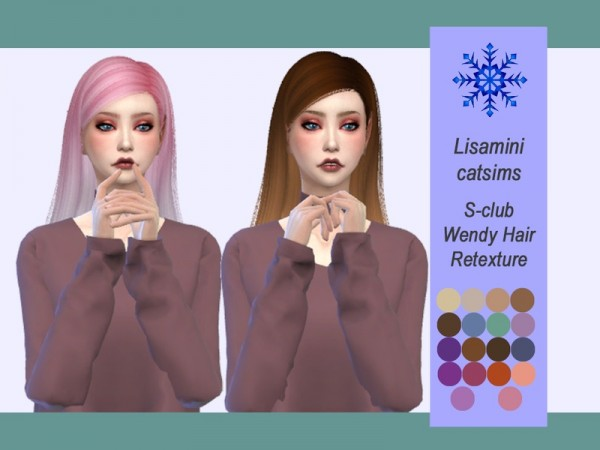 The Sims Resource: S club`s Wendy Hair Retextured by Lisaminicatsims for Sims 4