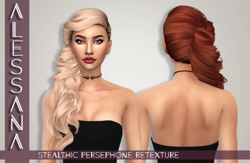 Alessana Sims: Stealthic Persephone hair retextured for Sims 4