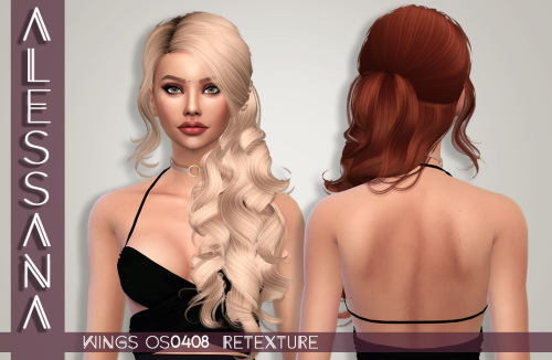 Alessana Sims: Wings OS0408F hair retextured for Sims 4