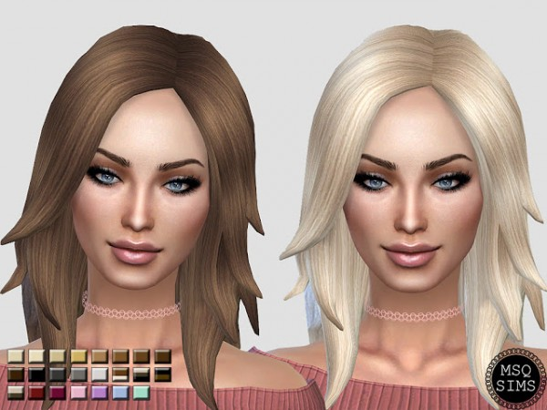 MSQ Sims: Long Rocker Hair Recolored for Sims 4