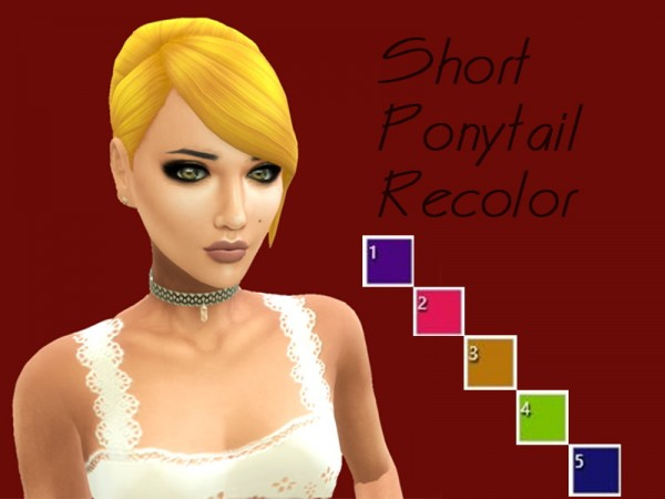 Simsworkshop: Short Ponytail hair recolored by LadyLorelai for Sims 4
