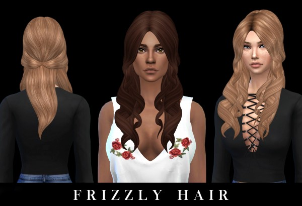 Leo 4 Sims: Frizzly hair recolored for Sims 4