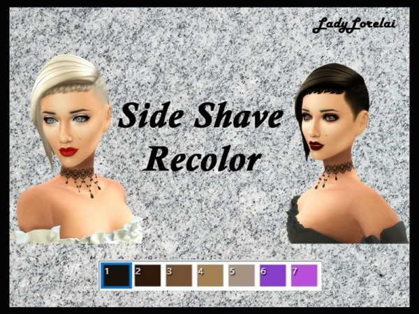 The Sims Resource: Side Shave Hairstyle Recolor by LadyLorelai for Sims 4