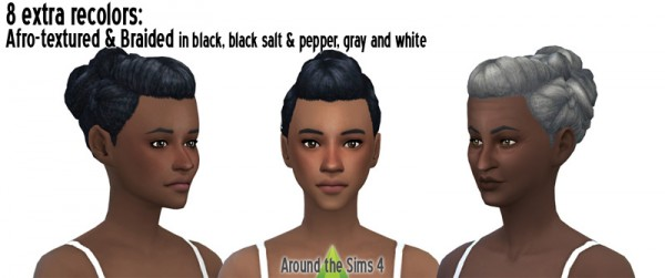 Around The Sims 4: Braided bun with for straight and afro hair for Sims 4