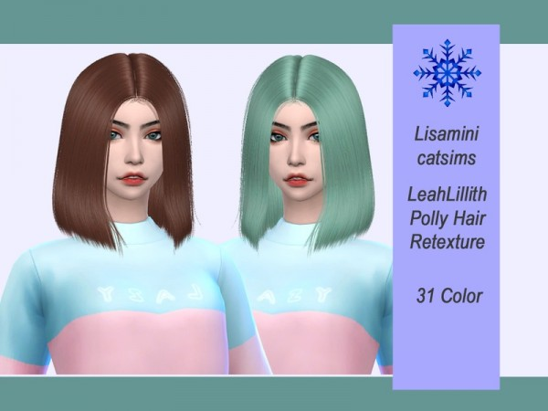 The Sims Resource: LeahLillith`s Polly hair retextured by Lisaminicatsims for Sims 4