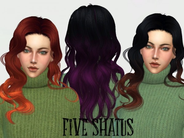 The Sims Resource: NewSea`s Cleopatra Solid and Shatush Hair Recolored by SweetCranberry for Sims 4
