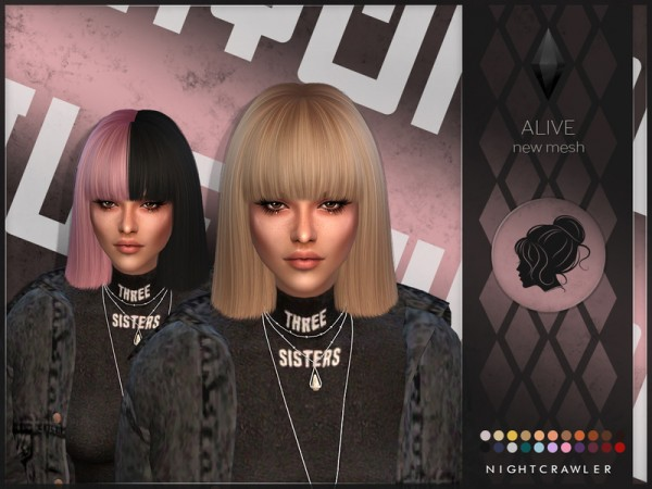 The Sims Resource: Alive hair by Nightcrawler for Sims 4
