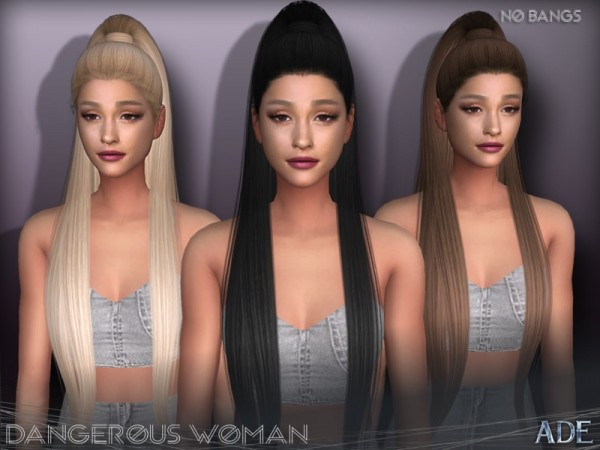 The Sims Resource: Dangerous Woman hair Without Bangs by Ade Darma for Sims 4