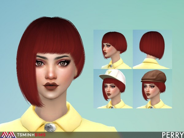 The Sims Resource: Perry Hair 58 by Tsminh Sims for Sims 4
