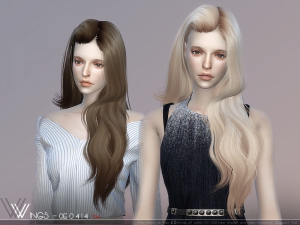 The Sims Resource: WINGS OE0414 hair for Sims 4