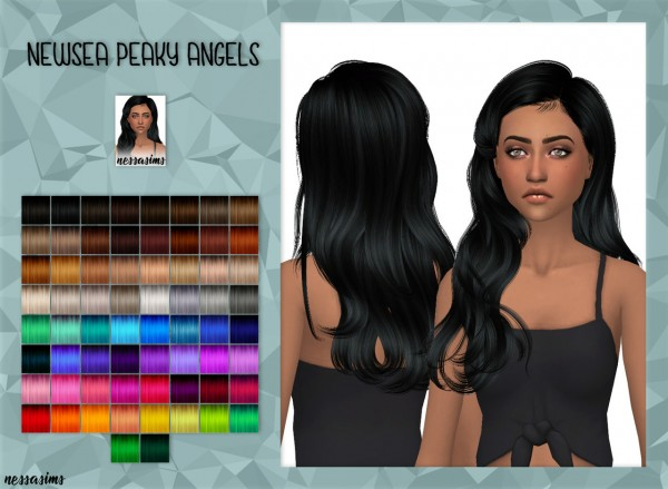 Nessa sims: Newsea Peaky Angels Hair retextured for Sims 4