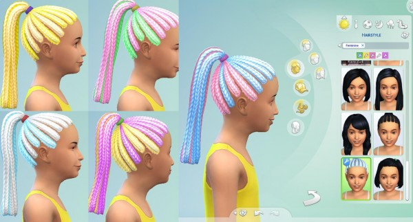 Mod The Sims: Multicolored Braided Ponytail by EmilitaRabbit for Sims 4