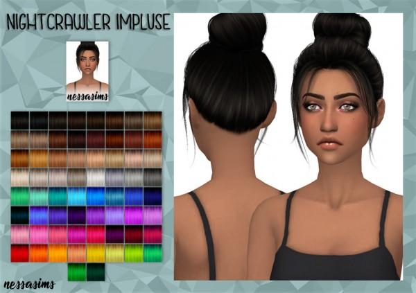 Nessa sims: Nightcrawler`s Impluse hair retextured for Sims 4