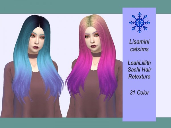 The Sims Resource: LeahLillith`s Sachi Hair Retextured by Lisaminicatsims for Sims 4