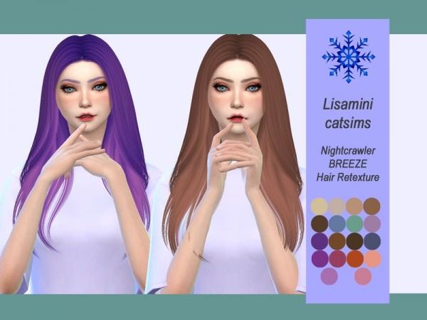 The Sims Resource: Nightcrawler`s Breeze Hair Retexture by Lisaminicatsims for Sims 4