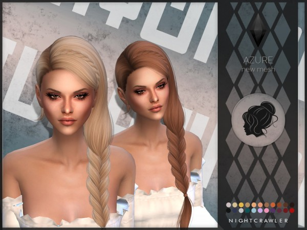 The Sims Resource: Azure hair by Nightcrawler Sims for Sims 4