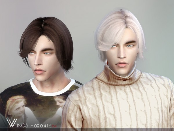 The Sims Resource: WINGS OE0416 hair for Sims 4