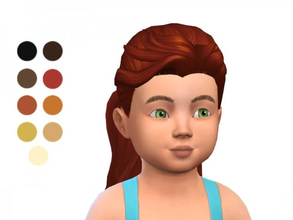 The Sims Resource: Toddler Pony Tail hair retextured by ladyfancyfeast for Sims 4