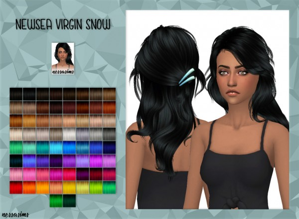 Nessa sims: Newsea`s Virgin Snow Hair retextured for Sims 4