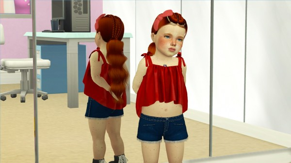 The Sims Resource: LeahLillith`s Nakia Hair retextured kids and toddlers version for Sims 4