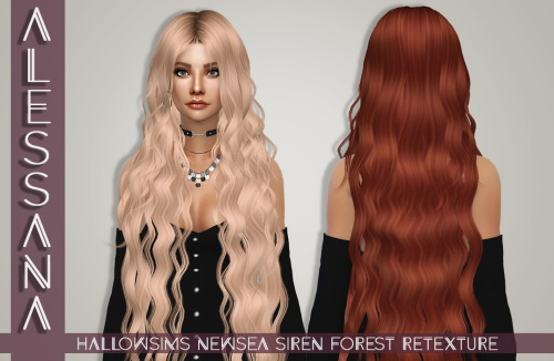 Alessana Sims: Newsea`s Siren Forest hair retextured for Sims 4