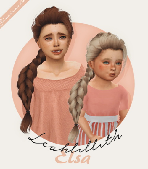 Simiracle: LeahLillith`s Elsa hair retextured for Sims 4
